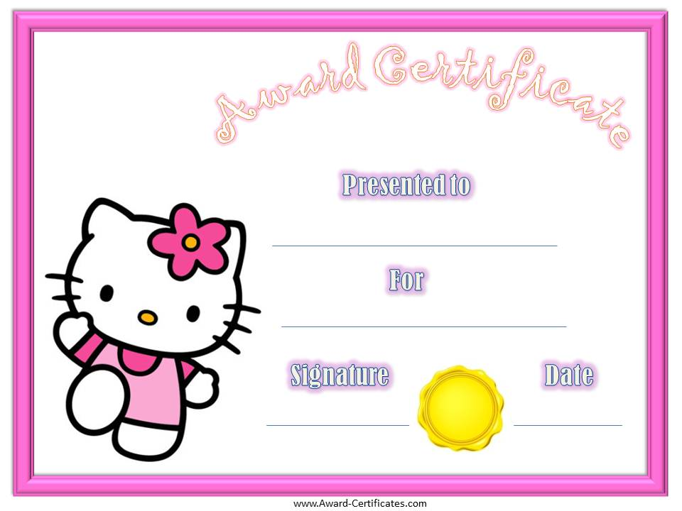 Award certificates for children bishops corner web for Kid certificate templates free printable